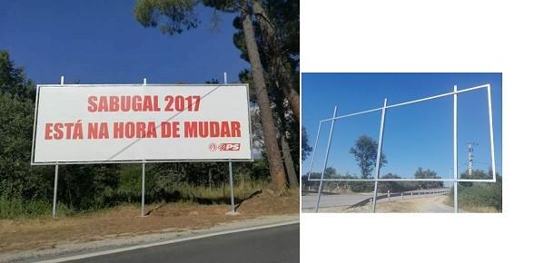 Outdoors da campanha do PS vandalizados no Sabugal